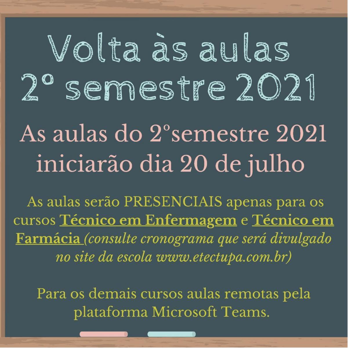 2� SEMESTRE 2021 - HOR�RIOS DE AULAS