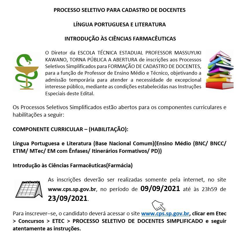 PROCESSO SELETIVO 2021 PARA CADASTRO DE DOCENTES!!